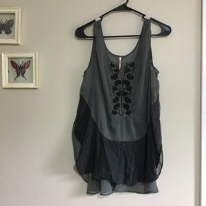 Free People | Sheer Billowy Embroidered Tank